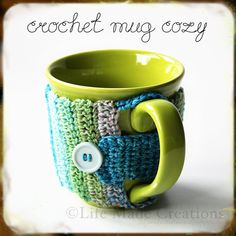 Crochet Mug Cozy tutorial.  This one's great because you can so easily change the size, and can be altered for cups with narrow bottoms.