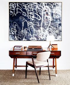 Contemporary Home Office Design Ideas - Search pictures of contemporary home offices. Discover ideas for your trendy home office design with ideas for decor, storage space and furniture. Home Office Design, Office Decor, House Design, Office Art, Workspace Design, Office Designs, Library Design, Facade Design, Office Furniture