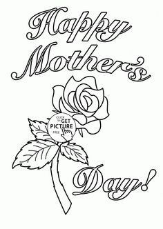 Card for Mother's Day coloring page for kids, coloring pages printables free - Wuppsy.com