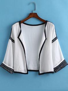 White Contrast Trims Lace Crop Kimono   -SheIn