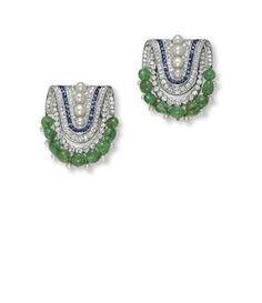 Boucheron art deco diamond, emerald, sapphire and pearl earrings.