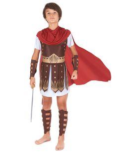 Disfraz de centurión romano para niño: Este disfraz de centurión romano para niño incluye una túnica blanca de manga corta, una capa roja, una coraza de fieltro marrón, espinilleras y protecciones para los...