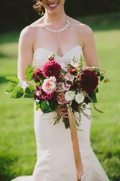 Photography: Henry + Mac - henryandmac.com/ Floral Design: Foret Design Studio - foretdesignstudio.com Wedding Dress: Tulle Bridals - www.tullebridals.com/   Read More on SMP: http://www.stylemepretty.com/2015/11/18/elegant-autumn-barn-wedding-in-maine/