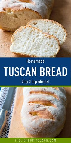 Did you know that you can make this famous Tuscan Bread at home using only 3 ingredients? It's perfect fresh but it's equally amazing to use in your stale bread recipes! Italian Recipe Book, Italian Bread Recipes, Italian Bakery, Rustic Bread, Savory Pastry, Stale Bread, Cheese Pies, Pizza Bites, 3 Ingredients