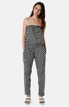 Topshop Tile Print Strapless Jumpsuit available at #Nordstrom