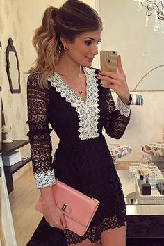 Sexy Sheer Lace Hollow out Mini Dress