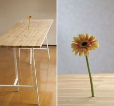 Would be a fun idea for a dessert/party table - make a false tabletop that fresh flowers could appear to be growning out of....