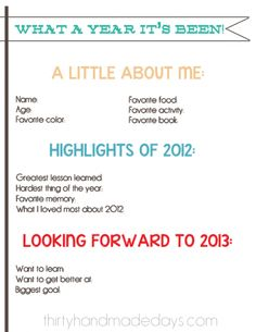 New Year Resolutions Kid Printable 2013
