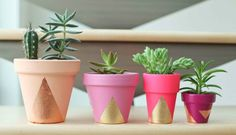 Inspiration til kreative og farverige urtepotter med kobber, guld og farver - Tina Dalboge - DIY