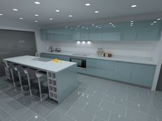 Ocean blue gloss lacquer kitchen (designs by LWK Kitchens)