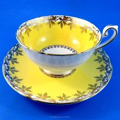 Pretty Yolk Yellow with Gold Leaf Garland Motif Shelley Tea Cup and Saucer Set | Antiques, Decorative Arts, Ceramics & Porcelain | eBay!