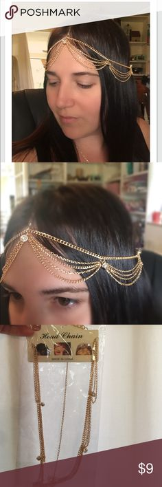 Bohemian Golden Head Chain Jewelry Delicate gold chains with crystals. This looks incredible on every color hair! Jewelry