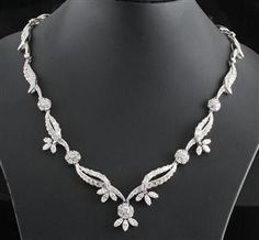 white gold, hallmarked Necklace decorated with numerous round-brilliant-cut diamonds approx. Pendants, Pendant Necklace, Vintage, Chain, Silver, Handmade, Necklaces, Jewelry, Diamonds