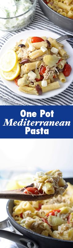 Dinner doesn't have to be boring! Try this tasty One Pot Mediterranean Chicken Feta Pasta!   honeyandbirch.com