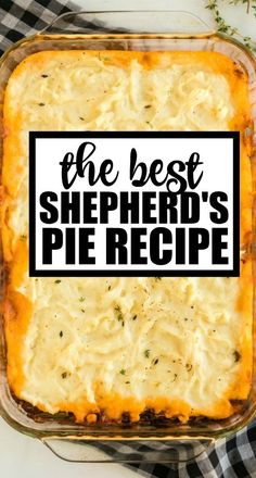 Shepherd's Pie This classic shepherd's pie recipe is the ultimate in savory comfort food! Perfectly seasoned ground beef and veggies are topped with creamy, homemade mashed potatoes before being baked in a casserole dish. Side Dish Recipes, Meat Recipes, Cooking Recipes, Chicken Recipes, Hamburger Pie Recipes, Air Fryer Recipes Vegetarian, Hamburger Dishes, Dinner Recipes, Apple Pie Recipes
