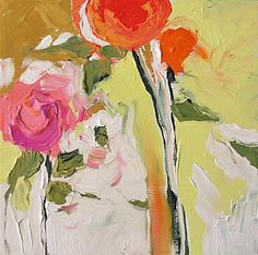 Acrylic Abstract Floral Painting Giclee Print Made by LindaMonfort