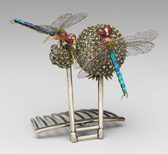 Hair ornament, ca. 1904  Louis Comfort Tiffany (American, 1848–1933)  Silver, enamel, black and pink opals, demantoid garnets