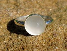 White Moonstone Ring, Handmade by Me :-)