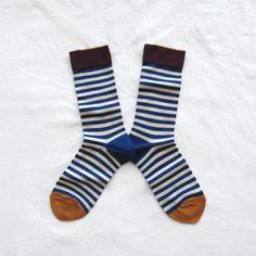 Chaussettes Bonne Maison / Bonne Maison socks - Rayures Bleu Drapeau