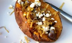 Baked Sweet Potatoes with Caramelized Leeks, Eggplant & Goat Cheese  @With Food + Love
