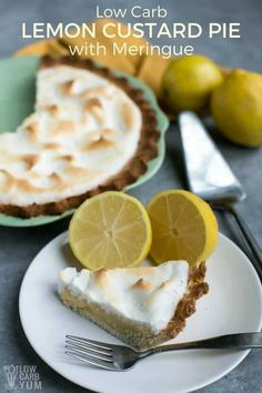 A simple low carb lemon custard pie with meringue that's dairy-free, nut-free, and gluten-free. It's perfect for a special treat any time there's a craving for something a little sweet.  #lowcarb #sugarfree #dairyfree #glutenfree | LowCarbYum.com via @lowcarbyum