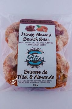 Honey Almond Brunch Bites 10 ground almonds in each, 40 in this package! Order online or at a store near you in the London Ontario area.