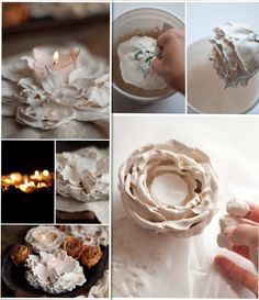 Tealight Holder Dip synthetic flowers into gypsum. Mould the flower and put a tea light in the middle so that the flower keeps in shape ... It's also possible to paint it after drying