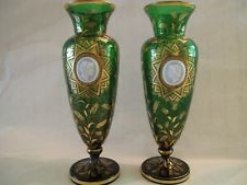RARE PAIR BOHEMIAN GLASS CAMEO VASES 19TH CENTURY