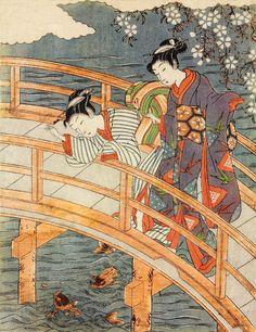 Isoda Koryuusai (1735-1790) 礒田湖龍斎 Ladies on a Bridge, ca.1760-80