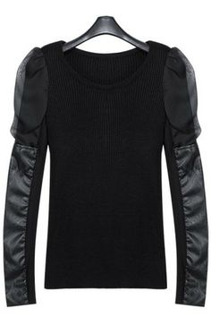 Black Round Neck Contrast Leather Long Sleeve Sweater US$69.03