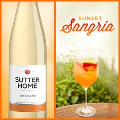 Make this Summer Sunset Sangria with Sutter Home Moscato! #wine #cocktail #cheers