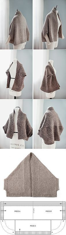 Inversion is a garment, meaning it can be worn right side up or upside down, depending on the fit preference of the wearer or the specific wardrobe context. The photos below show the cardigan on the dress form in both styles. The actual shape o Diy Crafts Knitting, Knitting Projects, Crochet Projects, Knitted Shawls, Crochet Shawl, Knit Crochet, Knitting Patterns, Sewing Patterns, Yarns