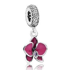 The delicate and graceful orchid is the most coveted of exotic plants, representing love, beauty and strength.  PANDORA's orchid dangle charm, illustrated in sterling silver and embellished with hand-applied enamel and sparkling cubic zirconia stones, is a truly feminine and vibrant piece of jewelry.<br> <b> Style</b>791554EN69