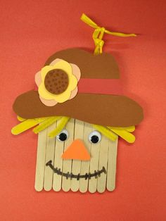 Thanksgiving Crafts for Kids - Popsicle Stick Scarecrow