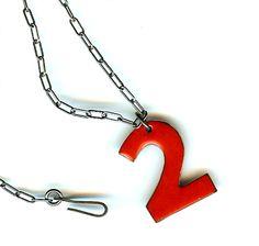 "Wingo Designs enamel ""2"" necklace - I want a #5!"
