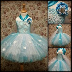 Elsa from Frozen Tutu Dress by Patchwork Jane's Tutu's & Accessories. Size 2 yr