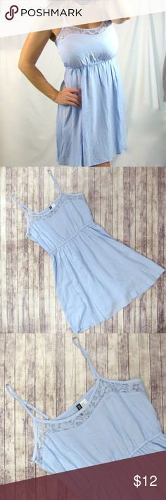 // BABY BLUE DRESS // Adorable baby blue dress, lace detail to the top, like new condition. Divided Dresses