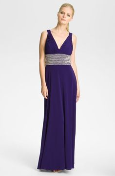JS Boutique Beaded Waist Jersey Gown available at #Nordstrom