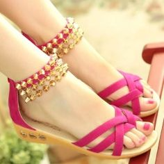 Cross-Linked Straps Ankle Wrap Back Zipper Shining Rivets Toe-Knob Wedged Sandals