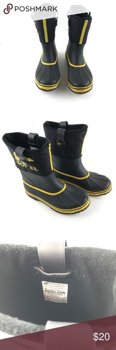 SOREL Black & Yellow Winter Snow Rain Boots SOREL Black & Yellow Winter Snow Rain Boots Youth Size 6 Sorel Shoes Rain & Snow Boots