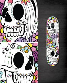 Another skeleton one. Another with bones translates well to skateboards, and this one doesn't disappoint. Also, great use of CMYK going on blended all over the place.