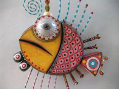 Twisted Fish 8, Original Found Object Sculpture, Wall Art, by Fig Jam Studio