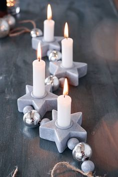 Candle holder, stars, concrete look, polyresin order now … – Light Ideas Cement Art, Concrete Crafts, Concrete Projects, Concrete Candle Holders, Diy Candle Holders, Diy Candles, Home Decor Hooks, Recycled Paper Crafts, Christmas Wine Bottles