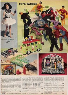 1976 Wards catalog page featuring Mego toys in a gang fight. Spidey with the kick to the head.