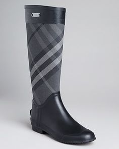 Burberry Rain Boots - Charcoal Clemence Check | Bloomingdale's