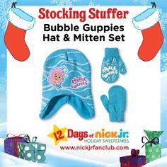 Stocking stuffer idea: Bubble Guppies matching hat and mitten set!