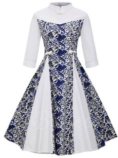 Tbdress.com offers high quality Mandarin Collar Double-Layered Women's Day Dress Day Dresses unit price of $ 26.99.