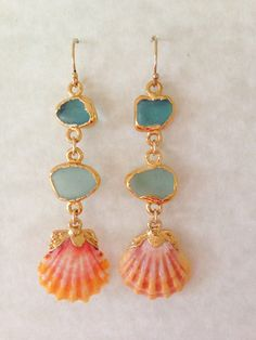 Gold Dipped Sea Glass and Sunrise Shell Mermaid Earrings on Etsy, $198.00