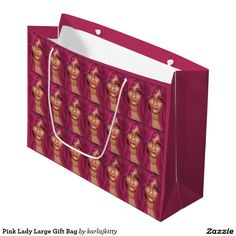 "Pink Lady Large Gift Bag  Other products with a similar design: http://www.zazzle.com/karlajkitty/Pink%20Lady?q=Pink%20Lady lady woman female pretty ""long hair"" beautiful anime lavender pink"