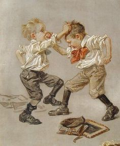 Study of two boys fighting, illustration for the Saturday Evening Post, United States, 1911, by J.C. Leyendecker.